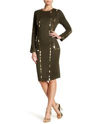 Wow Couture - Green Goldtone Mesh Accent Dress - Lyst