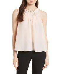 Kate Spade - Natural Studded Silk Top - Lyst