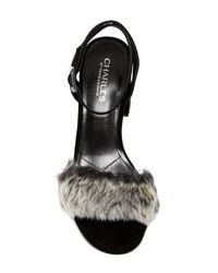 Charles David | Black Kandy Faux Fur Block Heel Pump | Lyst
