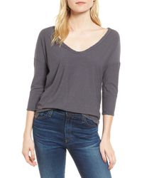 James Perse - Gray V-neck Tee - Lyst