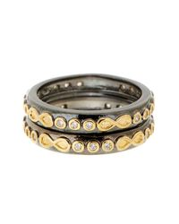 Freida Rothman   Metallic Rhodium & 14k Gold Plated Sterling Silver Cz Infinity Rings - Set Of 2 - Size 9   Lyst