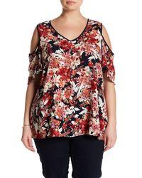 92bdd8d7a3c11 Lyst - Bobeau Floral Cold Shoulder Blouse (plus Size) in Red
