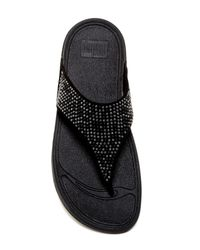 Fitflop - Black Studded Aztec Toe Post Sandal - Lyst