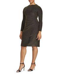 Ralph Lauren - Black Lauren Metallic Knit Faux Wrap Dress - Lyst