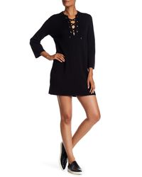 Theory - Black Front Lace-up Wool Blend Dress - Lyst