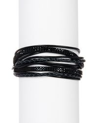 Saachi - Black Urban Wrap Genuine Leather Bracelet - Lyst