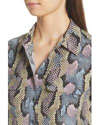 Equipment - Multicolor Slim Signature Python Print Silk Shirt - Lyst