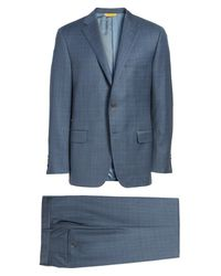 Hickey Freeman | Blue B-series Classic Fit Plaid Wool Suit for Men | Lyst
