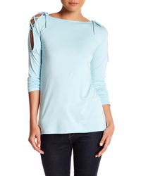 Go Couture - Blue Boatneck Open Shoulder Tee - Lyst