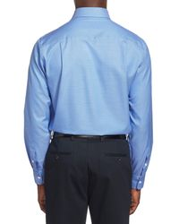 David Donahue - Blue Trim Fit Texture Dress Shirt for Men - Lyst
