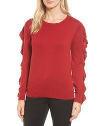 Halogen - Red (r) Ruffle Sleeve Sweater (regular & Petite) - Lyst
