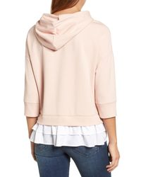 Caslon - Pink Caslon Woven Inset Knit Hoodie - Lyst
