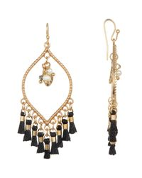 Shashi - Black 18k Gold Vermeil Juliette Teardrop Imitation Pearl & Leaf Charm Tassel Chandelier Earrings - Lyst