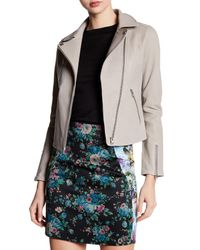 Doma Leather - Gray Lou Genuine Leather Bonded Moto Jacket - Lyst