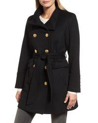 Sofia Cashmere - Black Wool & Cashmere Blend Military Coat - Lyst