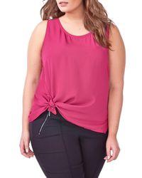 MICHEL STUDIO | Pink Knot Detail Blouse (plus Size) | Lyst