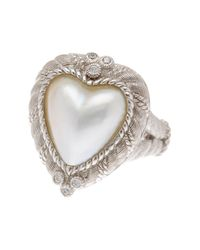 Judith Ripka - White Sterling Silver Heart Mabe Pearl Ring - Lyst