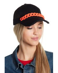 Steve Madden - Black Chain Distressed Brim Trucker Hat - Lyst