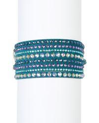 Swarovski - Blue Slake Deluxe Crystal Wrap Bracelet - Lyst