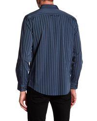 Perry Ellis - Blue Long Sleeve Stripe Stretch Fit Shirt for Men - Lyst
