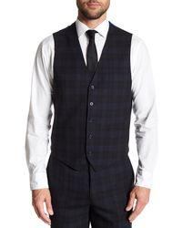 English Laundry Black Tartan Two Button Notch Lapel Vested Wool Suit for men