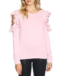 Cece by Cynthia Steffe - Pink Ruffled Cold Shoulder Tee - Lyst