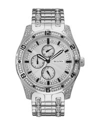 Bulova - Metallic Women's Quartz Crystal Accented Bracelet Watch, 43mm - Lyst
