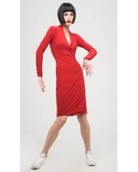 Norma Kamali   Red Long Sleeve Modern Side Drape Dress To Knee   Lyst