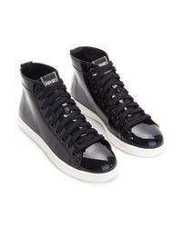 KENZO - Black Glossy Hightop Sneakers - Lyst