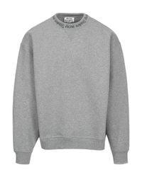 Acne - Gray Flogho Round Neck Cotton Sweatshirt for Men - Lyst