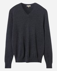 N.Peal Cashmere - Gray The Burlington V Neck 1ply Cashmere Sweater for Men - Lyst