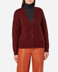 N.Peal Cashmere - Red Cable Knit Cashmere Cardigan - Lyst