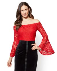83214175be936e Lyst - New York & Company Lace Off-the-shoulder Bell-sleeve Blouse ...