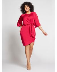 New York & Company Red Gabrielle Union Collection - Plus Berry Tie-front Shift Dress