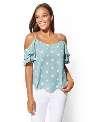 New York & Company - Blue Dot-print Cold-shoulder Blouse - Lyst