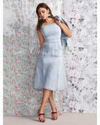 New York & Company Blue Candace Denim Flare Dress - Eva Mendes Collection