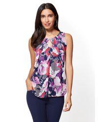 New York & Company - Purple Chiffon-overlay Shell - Floral - Lyst