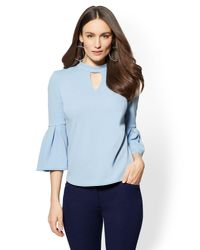 New York & Company - Blue 7th Avenue - Choker-neck Flared-sleeve Top - Lyst