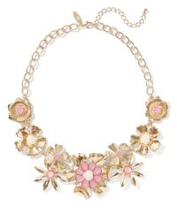 New York & Company - Pink Goldtone Beaded Floral Necklace - Lyst