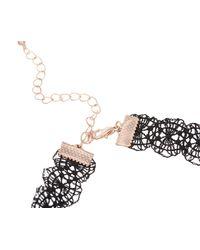 Oasis - Metallic Lace Choker Necklace - Black - Lyst