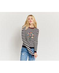Oasis | Black Embroidered Stripe Jumper | Lyst