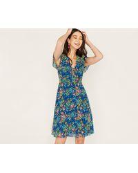 Oasis - Blue Long Painted Posy Tea Dress - Lyst