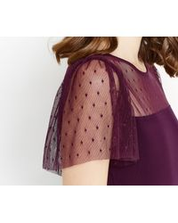 Oasis - Purple Ruffle Mesh Fitted Top - Lyst