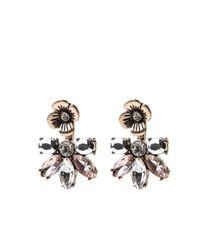 Oasis - Metallic Flower Front Back Earrings - Lyst
