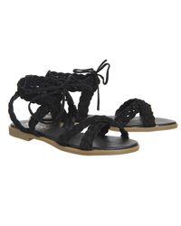 Office - Black Boho Plaited Sandal - Lyst