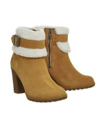 Timberland - Natural Glancy Teddy Fold Down Boots - Lyst