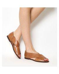 Office - Brown Deadline Peep Toe Flat Sandals - Lyst