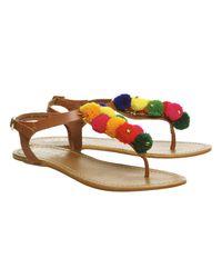 Office - Brown Bobble Pom Pom Sandals - Lyst