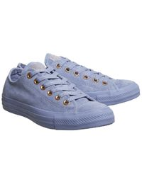 Converse - Blue Allstar Low Leather Trainers - Lyst