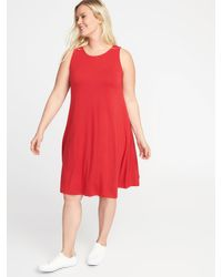 7f69601c9f02 Old Navy Sleeveless Plus-size Jersey-knit Swing Dress in Red - Lyst